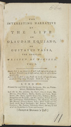 The Interesting Narrative Of The Life Of O. Equiano, Or G. Vassa -Title Page